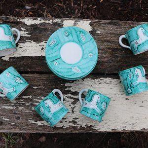 Vintage Italia Bitossi Hand Painted Tea Set